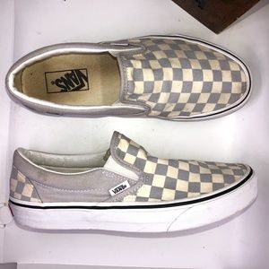 VANS Classic Slip On Grey/White Checkerboard Sneakers M/8, W/9.5